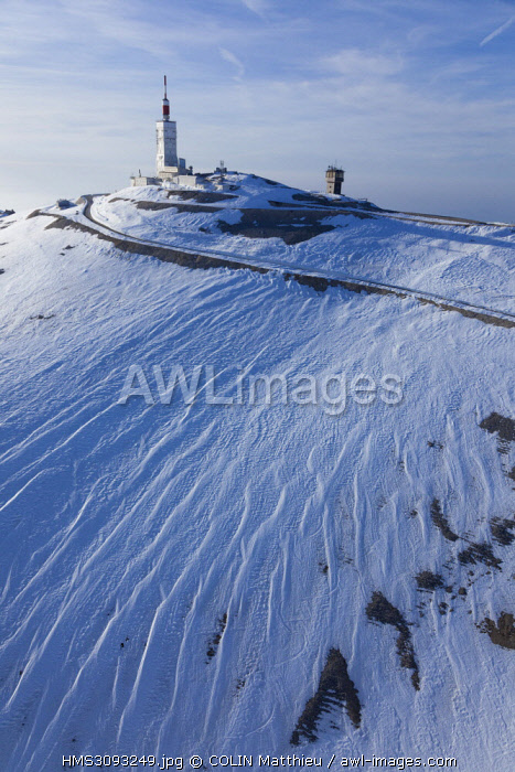 France, Vaucluse, Bedoin, Mont Ventoux, D974, observatory tower, meteorological observatory and TV transmitter, climax of the Mont Ventoux at 1911 meters (aerial view)