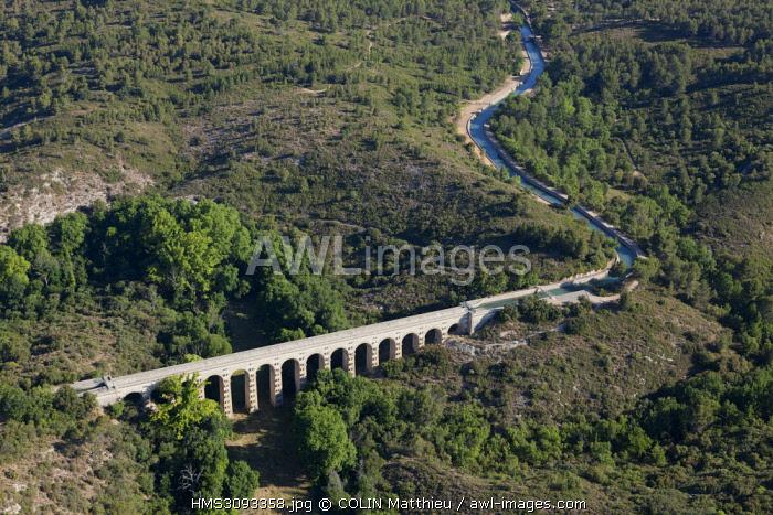 France, Bouches du Rhone, Saint Cannat, Canal de la Touloubre bridge over the Canal de Marseille (aerial view)