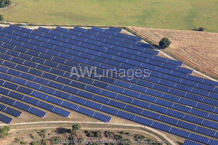 France, Alpes de Haute Provence, Montagnac Montpezat, Verdon Regional Natural Park, photovoltaic solar park (aerial view)