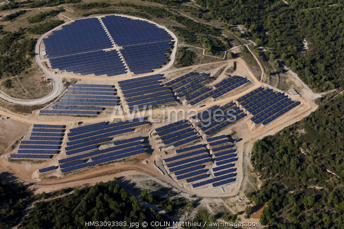 France, Bouches du Rhone, commune of Fuveau, solar power plant or photovoltaic park realized by Urbasolar on an old pitcher (aerial view)