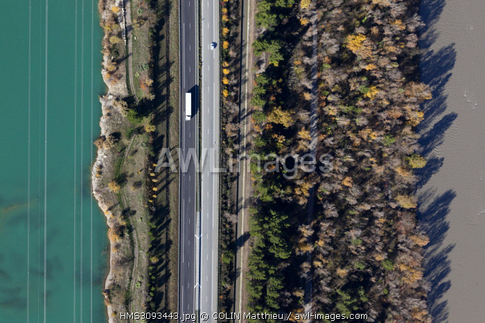 France, Bouches du Rhone, Peyrolles en Provence, highway A51 Val de Durance (aerial view)
