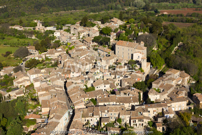 France, Vaucluse, Regional Nature Park of the Luberon, village of Goult (aerial view)
