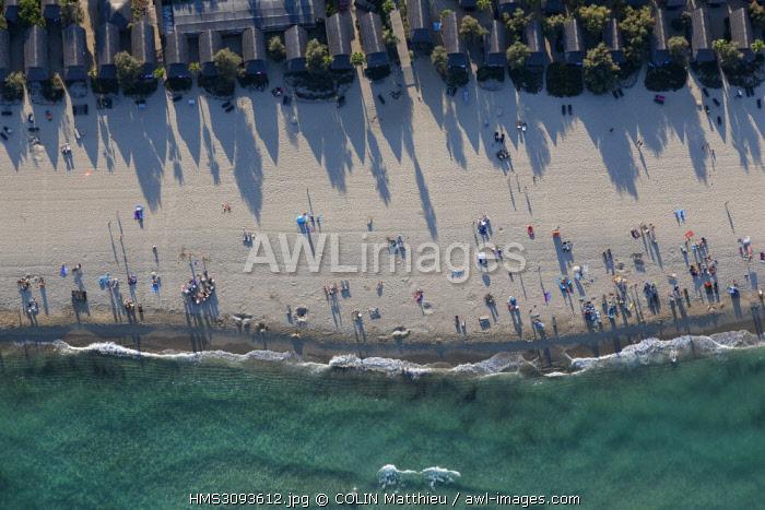 France, Var, peninsula of Saint Tropez, commune of Ramatuelle, beaches of Pampelonne (aerial view)
