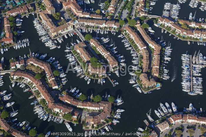 France, Var, Gulf of Saint Tropez, marina of the lake city of Port Grimaud (aerial view)
