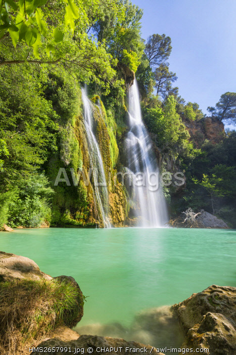 France, Var, regional natural reserve of Verdon, Dracenie, Sillans la Cascade, river of Bresque, waterfall