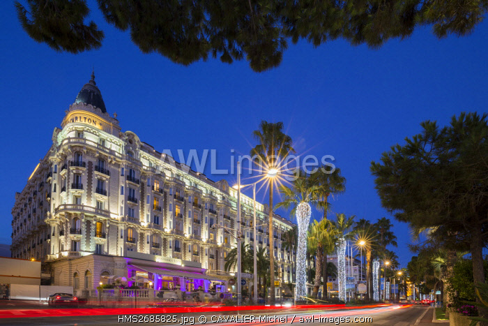 France, Alpes Maritimes, Cannes, the luxury hotel of the Carlton on the boulevard of Croisette