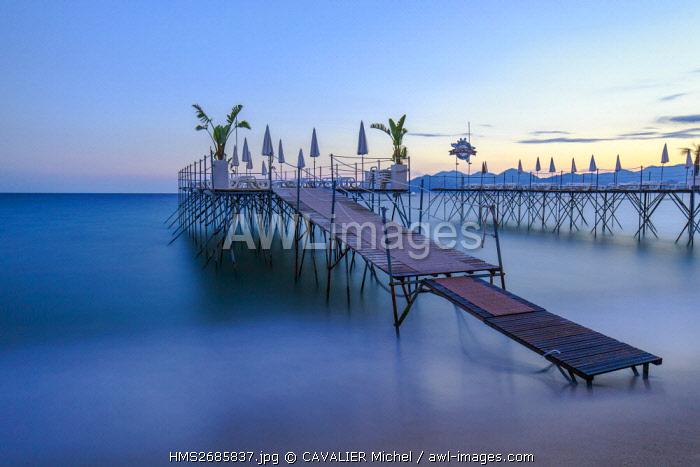 France, Alpes Maritimes, Cannes, beach of Midi, pontoons deprived of the restaurant Crystal Beach