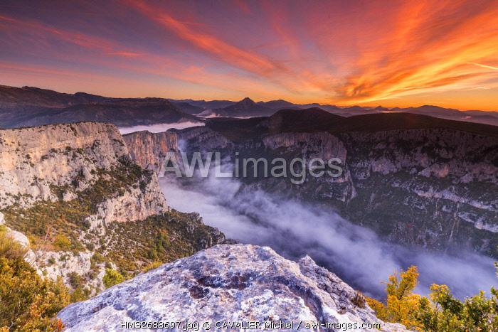 France, Alpes de Haute-Provence, regional natural reserve of Verdon, Grand Canyon of Verdon, cliffs of the Barres of Escalès seen by the belvedere of Pas de la Bau