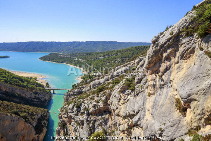 France, Alpes de Haute-Provence, regional natural reserve of Verdon, Grand Canyon of Verdon, the lake of Sainte-Croix