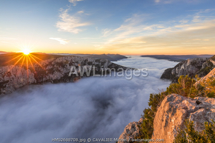 France, Alpes de Haute-Provence, regional natural reserve of Verdon, Grand Canyon of Verdon, cliffs seen by the belvedere of the Dent d'Aire, morning autumn fogs