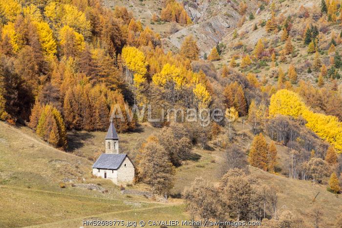France, Alpes de Haute-Provence, national park of Mercantour, Barcelonette, route of the pass of Allos, chapel of Agneliers (1710m) near the ski resort of Agneliers