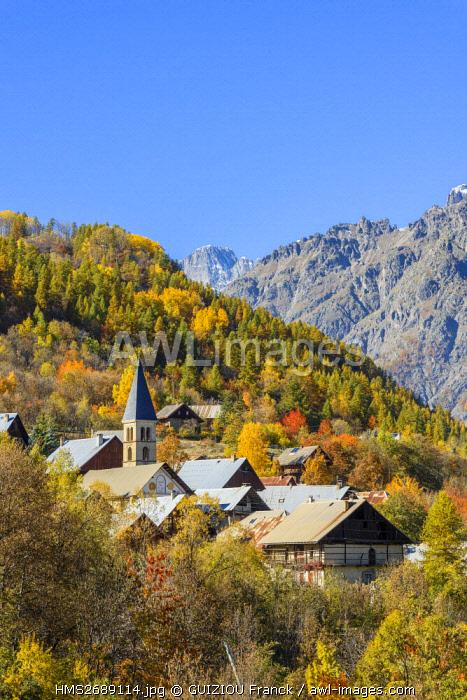 France, Hautes Alpes, Brianconnais region, Vallouise valley, Puy Saint Vincent, Sainte Marthe church