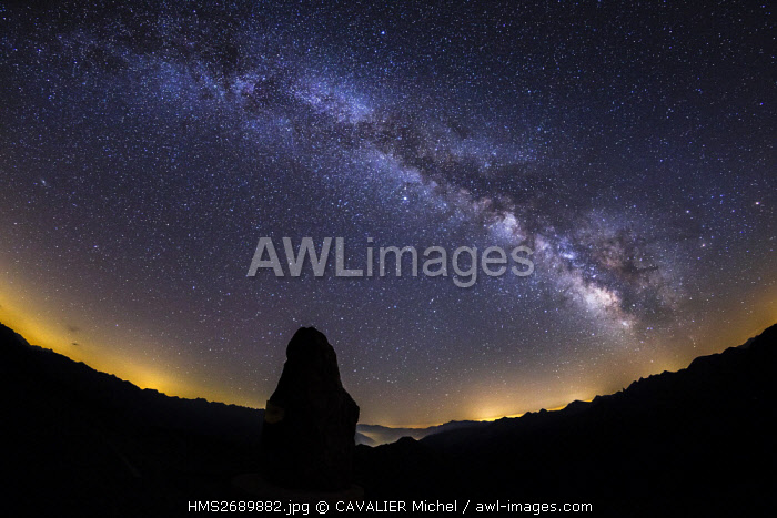 France, Alpes Maritimes, Mercantour National Park, Haute Tinee, the Milky Way seen by the pass of Bonnette (2802m), higher road of Europe