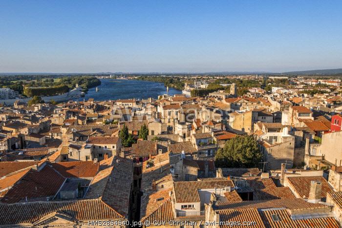 France, Bouches du Rhone, Arles, Rhone and Cavalerie-Lamartine district near Arenas, Saint Julien church