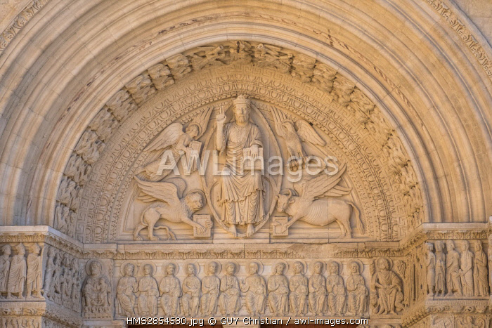 France, Bouches du Rhone, Arles, St Trophime Church dated 12th-15th century listed as World Heritage by UNESCO, the portal