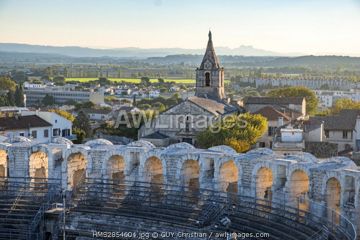 France, Bouches du Rhone, Arles, the Arenas, Roman Amphitheatre of 80-90 AD, listed as World Heritage by UNESCO and Notre Dame de la Major Church