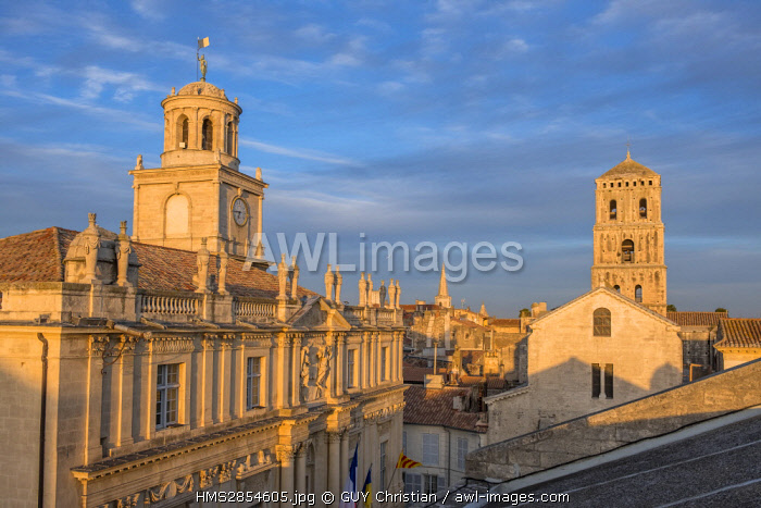 France, Bouches du Rhone, Arles, Place de la Republique, Clock tower, City hall and Church of St Trophime of the 12th-15th century, listed as World Heritage by UNESCO