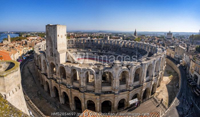 France, Bouches du Rhone, Arles, the Arenas, Roman Amphitheatre of 80-90 AD (UNESCO), La Major church in the background