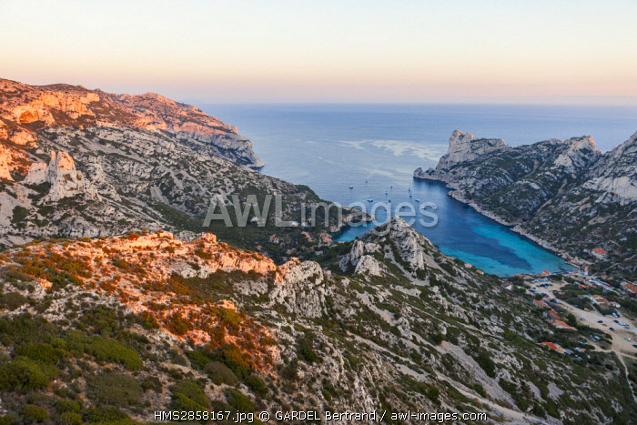 France, Bouches du Rhone, Marseille, National Park of the Calanques, the calanque of Sormiou