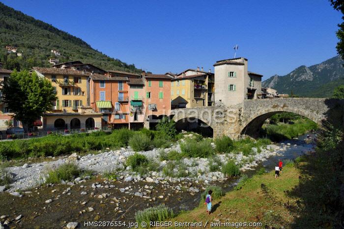 France, Alpes Maritimes, Bevera Valley, Sospel, the Old Bridge over the river Bereva