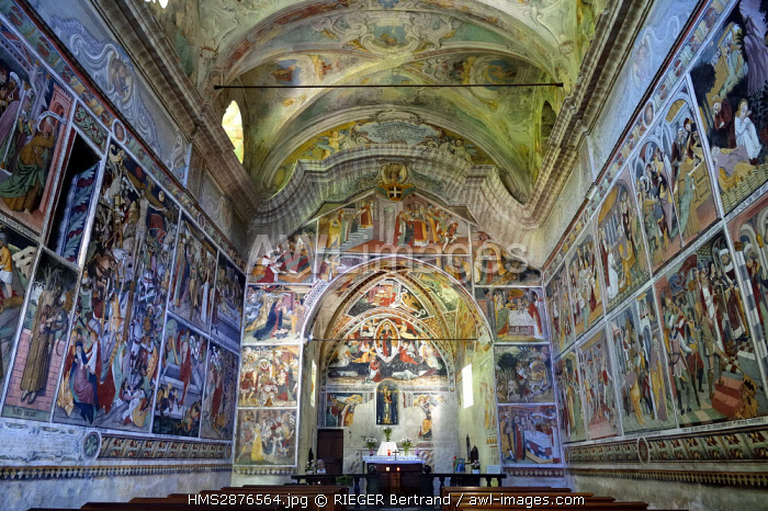 France, Alpes Maritimes, Roya Valley, La Brigue, Notre Dame des Fontaines Chapel, 15th century frescos attributed to Jean Canavesio