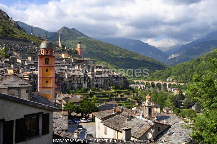 France, Alpes Maritimes, Roya Valley (Nice hinterland), at the foot of the Mercantour National Park, Tende, Collegiate Church of Notre Dame de l'Assomption (Our Lady of the Assumption), the remnants of the Lascaris castle in the background