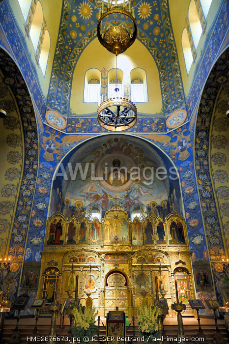 France, Alpes Maritimes, Nice, Russian Orthodox Cathedral of St Nicolas and St Alexandra built in 1859 on Boulevard Tzarevitch, fresco of the choir and the iconostasis