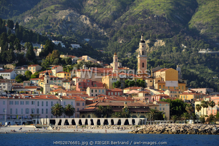 France, Alpes Maritimes, Menton, old town dominated by the St Michel Basilica, , Jean Cocteau Museum built in 2008 by architect Rudy Ricciotti in the foreground