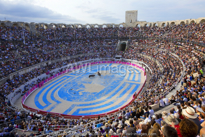 France, Bouches du Rhone, Arles, the Arena, the Roman Amphitheatre (80/90 AD..), Historical monument, World Heritage of UNESCO, Rice Fest, Bullfight Goyesque scenography Marie Hugo