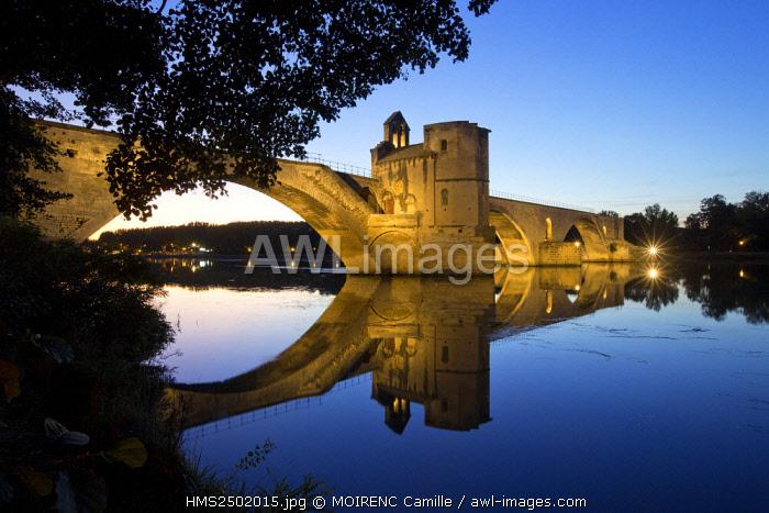 France, Vaucluse, Avignon, Saint Benezet Bridge (XII century) on the Rhone, listed as World Heritage by UNESCO