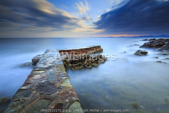 France, Var, Saint Raphael, Boulouris, stone pontoon