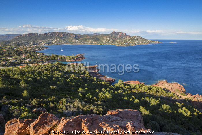 France, Var, Saint Raphael, the bay of Agay seen by the Cap du Dramont, in the background the Rastel d'Agay (287m), and the Cap Roux, the summit of the Saint Pilon peaks in 442m