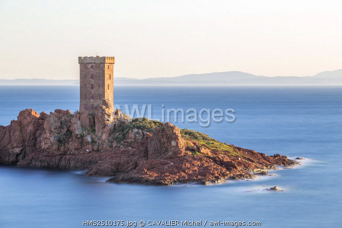 France, Var, Saint Raphael, Cape of Dramont, the tower of the l'ile d'Or