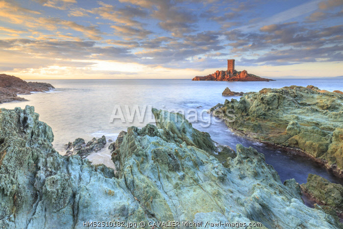 France, Var, Saint Raphael, Cape of Dramont, the tower of the ile d'Or