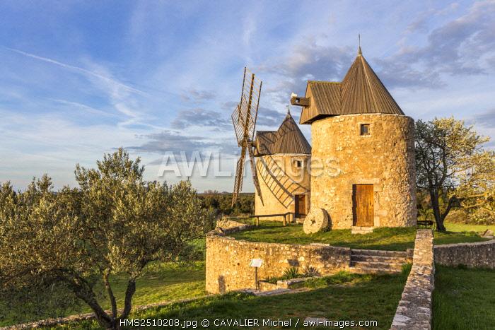 France, Var, Regusse, both windmills of Regusse restored in 1995