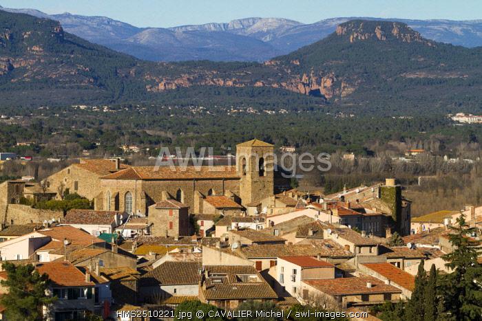 France, Var, Roquebrune sur Argens, the village, in the background the Gorges of Blavet