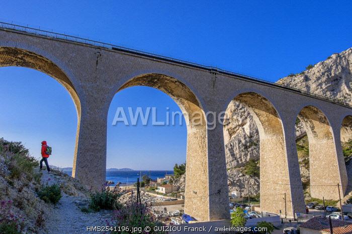 France, Bouches du Rhone, Blue Coast, Le Rove, La Vesse Calanque, viaduct of the railwayline from Miramas to L'Estaque or Blue Coast line