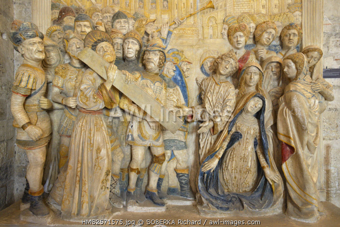 France, Vaucluse, Avignon, Papal Palace dating from the 14th century listed UNESCO World Heritage, north sacristy, altarpiece Cross behavior