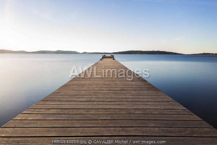 France, Var, National park of Port-Cros, Hyeres, Peninsula of Giens, the pontoon of tour Fondue, in background the Island of Porquerolles