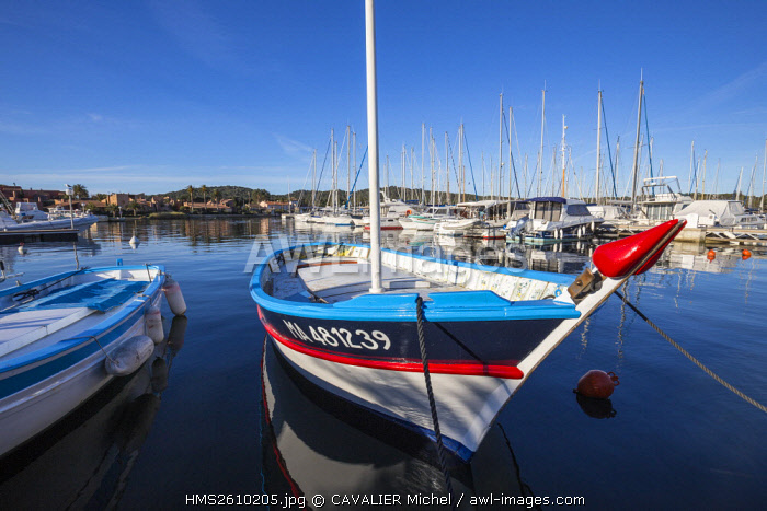 France, Var, Iles d'Hyeres, national park of Port-Cros, Island of Porquerolles, traditional fishing boat called locally Pointu