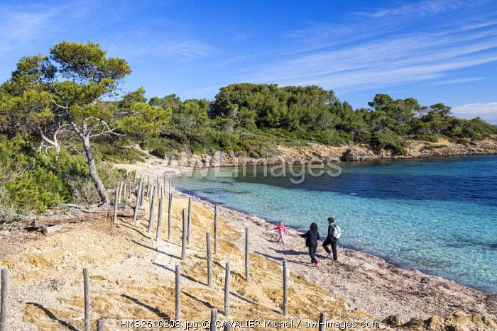 France, Var, Iles d'Hyeres, national park of Port-Cros, Island of Porquerolles, beach Bon Renaud