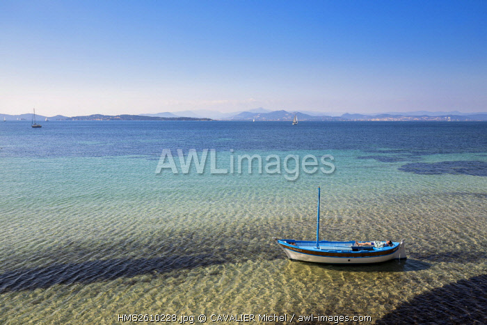 France, Var, Iles d'Hyeres, national park of Port-Cros, Island of Porquerolles, the beach of Coutarde