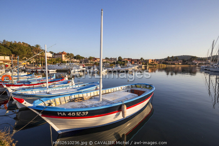 France, Var, Iles d'Hyeres, national park of Port-Cros, Island of Porquerolles, traditional fishing boats called locally Pointu