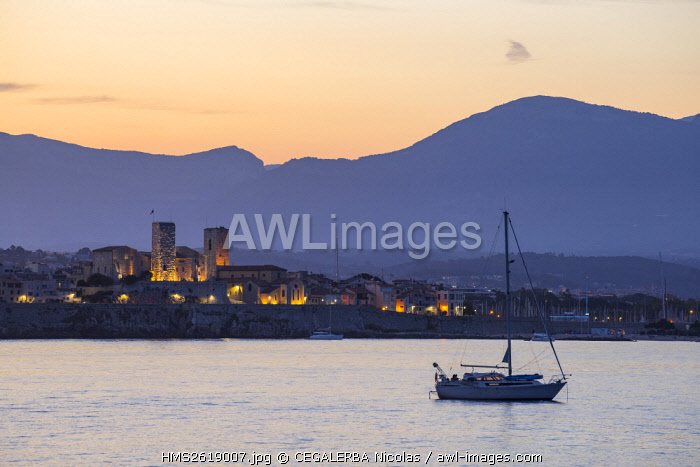 France, Alpes-Maritimes, the Old town and its Vauban ramparts letting appear the two Saracen towers of the Picasso Museum and the Cathedral Notre Dame of the Immaculate Conception