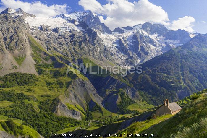 France, Hautes Alpes, La Grave and La Meije peak 3983 m, Ecrins massif, chapel near the Les Hières hamlet