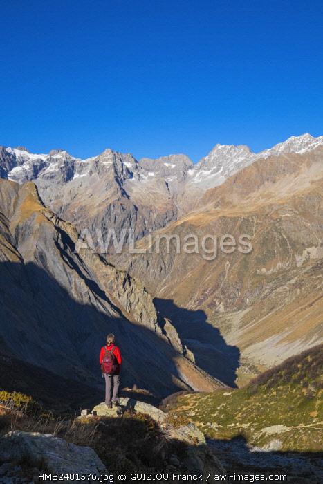 France, Hautes Alpes, Ecrins National Park, La Chapelle en Valgaudemar, hike to Vallonpierre refuge (alt : 2271m), Surette valley