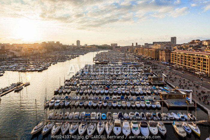 France, Bouches du Rhone, Marseille, Old Port (Vieux Port), boats (aerial view)