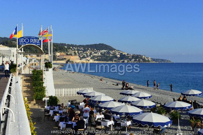 France, Alpes Maritimes, Nice, the Promenade des Anglais (Walk of the English), the Lido beach