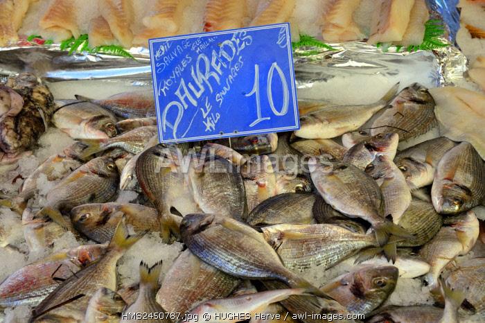 France, Alpes Maritimes, Nice, market of La Liberation, fishmonger Chez Pierrot, bream