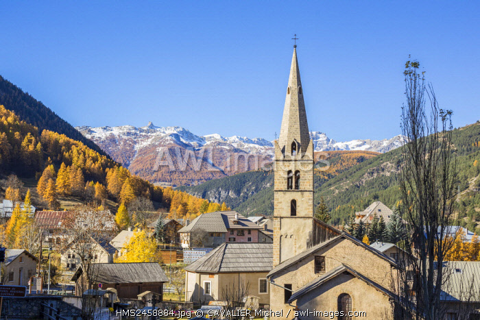 France, Hautes Alpes, regional natural reserve of Queyras, church of the village of Chateau Ville Vieille
